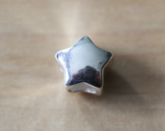 Sterling Silver 925 Puffy Star Charm - Free UK Postage