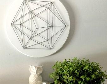 Icosahedron, geometric wall art, modern , minimalist, living room wall art, dining room wall art, bedroom wall art, gift, wood wall art