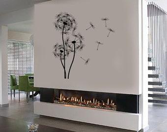 Wall Vinyl Decal Dandelions Bouquet of Flowers Blowing Seeds Puffball Flower Ornament Modern Home Decor (#1126di)