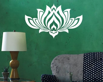 Wall Vinyl Decal Flower Lotus Padma Symbol Ornament Yoga Studio Floral Modern Abstract Home Art Decor (#1239da)