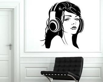 Wall Vinyl Decal Sexy Girl Headphones Head Phones Music Amazing Decor 1285dz