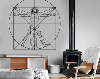 Wall Vinyl Art Leonardo Da Vinci Vitruvian Man Amazing Living Room Decor 1308dz