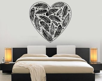 Wall Vinyl Decal Ethnic Feather Romantic Love Bedroom Decor Mural Art 1485dz