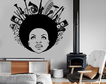 Wall Vinyl Music Black African American Girl Guaranteed Quality Decal Mural Art 1514dz