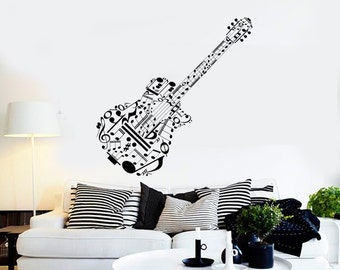 Wall Vinyl Music Guitar Made Of Notes Guaranteed Quality Decal Mural Art 1531dz