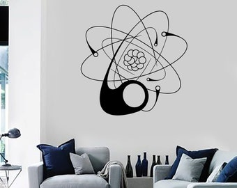 Wall Vinyl Decal Atom Abstract Cool Decor For Bedroom 2100di