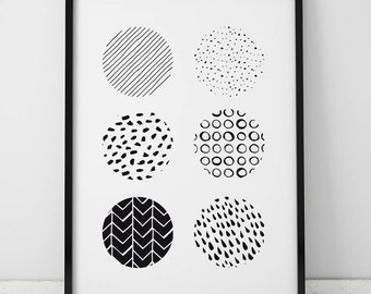 Abstract Circles INSTANT DOWNLOAD Printable Art, Black and White Wall Art, Printables, Gallery Wall Print, Black and White, Abstract Print