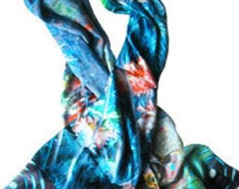 silk scarf Cornflower blue