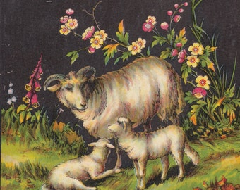 Vintage Sheep with Baby Lambs in Meadow Colorful Flowers Farm Animals Antique Lithograph Art Print 1881
