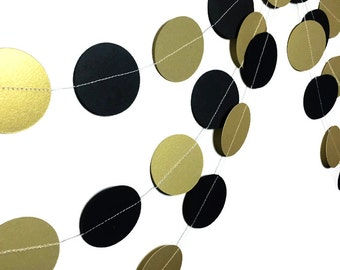 Party Decoration - 1920s Decorations - Birthday Party Garland - Anniversary Party - Gold Wedding Decor - Black Gold Circle Garland - 10 Feet