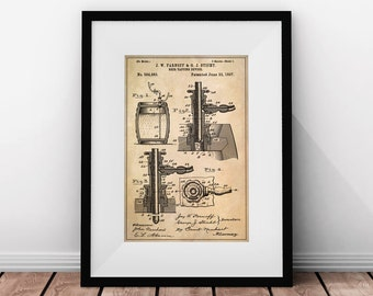 Home Bar Decor, Gifts For Him, Beer Patent, Beer Taps, Bar Prints