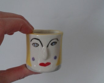 Ceramic Pot, Ceramic Face Pot, Handmade Ceramic Pot,