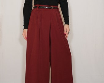 Wine red pants High waist Wide leg trousers Pants with pockets