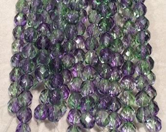 Fire Polished Beads, 8mm, Dual Coated-Blueberry/Green Tea, 1-08-48006, 25 Beads, Czech Glass