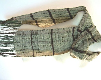 Hand Woven Scarf Wool Scarf Weaving Handwoven Wool Scarf Handwoven Shawl Hand Woven Shawl Men's Scarf Women's Scarf Green and Beige Scarf