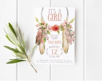 Dream Catcher Invitation, Girl, Printable, Spring, Boho Baby Shower Invites [297]