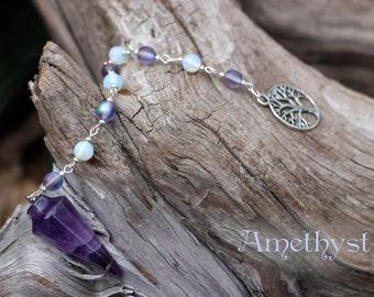 Amethyst Pendulum // Crystal Pendulum Opalite Pendulum Reiki Healing Divination Tool Crown Chakra Divination Altar Scrying Tool