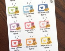 Binge watched Netflix Planner Stickers