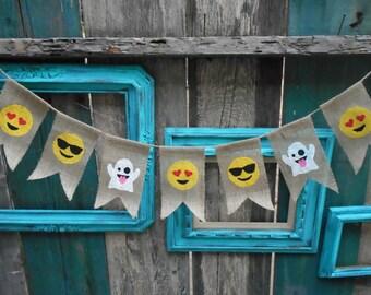 Emoji Combo Burlap Banner Garland
