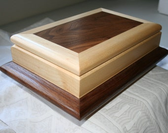 Wood Valet Box, Wooden Valet Box, Wooden Keepsake box, Jewelry Storage Box.