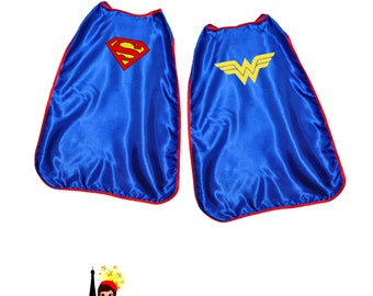 Superman OR Wonder Woman Toddler Cape- Blue DC Comics Super Hero Boys or Girls Silk Cape Costume