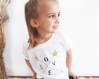 Girl's Tshirt, White Kids Shirt, Children's Clothing, Kids Shirts, Girl's Tee, White Love Shirt, Baby Tee, Trendy Kids, Modern Apparel