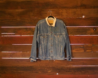 Vintage Levis Jean Jacket - Grunge Worn - 1990s - Leather Collar - Large