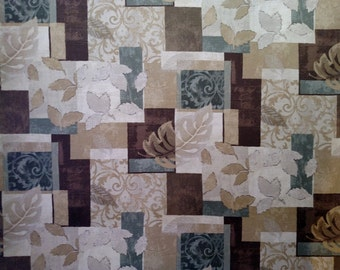 "2 Yards x 54"" Mill Creek Leaf Collage Interior Decorating Fabric"