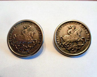Metal Buttons, 2 Silver Metal S Georgivs Eqvitvm Patronvs Buttons, Saint George Dragon Buttons, Silver Metal Buttons,