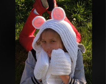 Crochet PATTERN - Scoodie Scarf With Ears, Quick and Easy Pattern - Instant Download