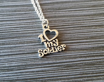 Silver I Love My Soldier Necklace - Army Wife Jewelry - Personalized Necklace - Custom Gift - Navy Wife - Soldier Necklace
