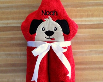 Adorable Puppy Hooded Towel, Red Towel, Puppy Towel, Beach Towel, Bath Towel,  Embroidered, Personalized, Puppy Hooded Towel, Dog Towel, Dog