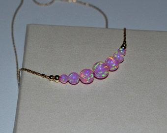 OPAL NECKLACE // Tiny Opal Necklace Gold - Pink Opal Ball Necklace - Dot Necklace - Single Bead Necklace - Opal Bead Necklace