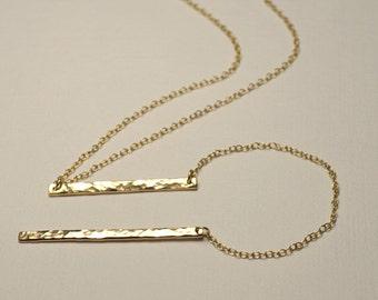LARIAT NECKLACE // Long Drop Necklace - Gold Y Necklace - Bar Lariat Necklace - Bar Necklace - Long Bar Necklace - Bar Drop Necklace