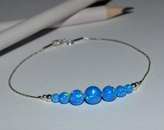 OPAL BRACELET // Tiny Opal Bracelet Silver - Dark Blue Opal Ball Bracelet - Dot Bracelet - Single Bead Bracelet - Opal Bead Bracelet