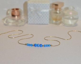 OPAL NECKLACE // Tiny Opal Necklace Gold - Dark Blue Opal Ball Necklace - Dot Necklace - Single Bead Necklace - Opal Bead Necklace