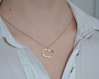 HEART NECKLACE // Heart Emerald Necklace Gold - Heart Pendant Necklace - Drop Heart Necklace - Tiny Heart Necklace