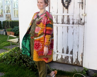 Handmade coat from old Indian quilts with big flowers