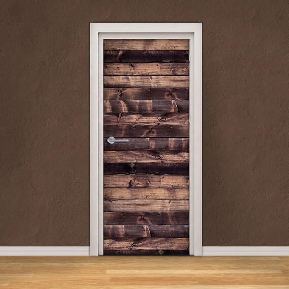 Door Decal Self Adhesive Vinyl Sticker Dark Wooden Planks