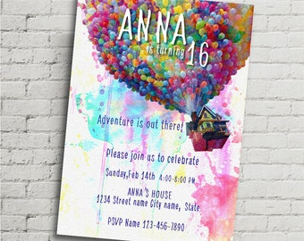 """Disney UP watercolor size 5""""x7"""" inches Birthday Party , Digital Prints"""