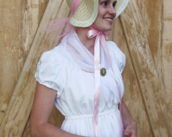 Regency Era Straw Bonnet, Pride and Prejudice Hat