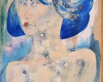 original oil painting, blue geisha painting, spirograph art, original wall art abstract, gold, aanstootgevend, artistic nude, mature art 18+
