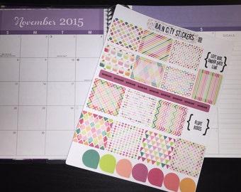 Bright Neon Pattern Box Stickers, Colorful stickers, Horizontal ECLP stickers, Horizontal stickers, Erin Condren Stickers, Life Planner