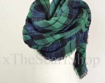 Green Check Blanket Knit Tartan Checked Scarf,Wrap,Winter Shawl,Oversize Scarf,Chunky Scarf,Christmas Present,Teen Gift,Blanket Shawl,Soft