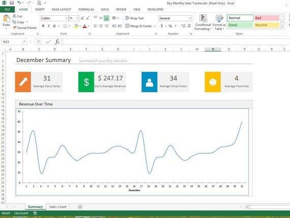 Etsy Monthly Sales Tracker Microsoft Excel Spreadsheet