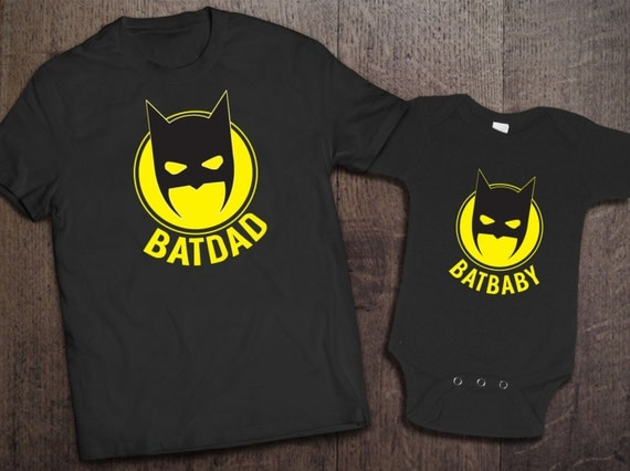 Batdad Batbaby Set Father Baby Gift For Dad Fathers Day New Batman Shirt