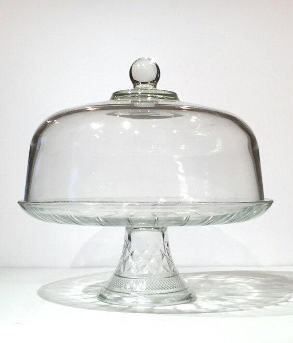 glass domed lid cake stand vintage glass by motownlostandfound. Black Bedroom Furniture Sets. Home Design Ideas