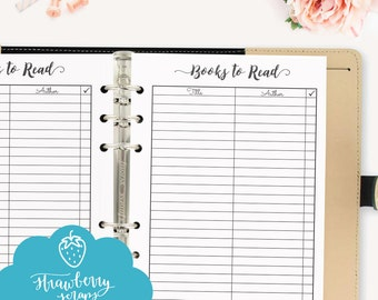 Books to read: Printable planner inserts A5, fits Filofax, Kikki K. Books checklist, books planner, books printable, book to do list