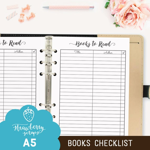 Books to read: Printable planner inserts A5 fits Filofax