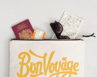 Travel Document Organiser - Travel Wallet - Passport Holder - Travel Wallet Clutch - Quote Bag - Bon Voyage XL Pouch - Alphabet Bags